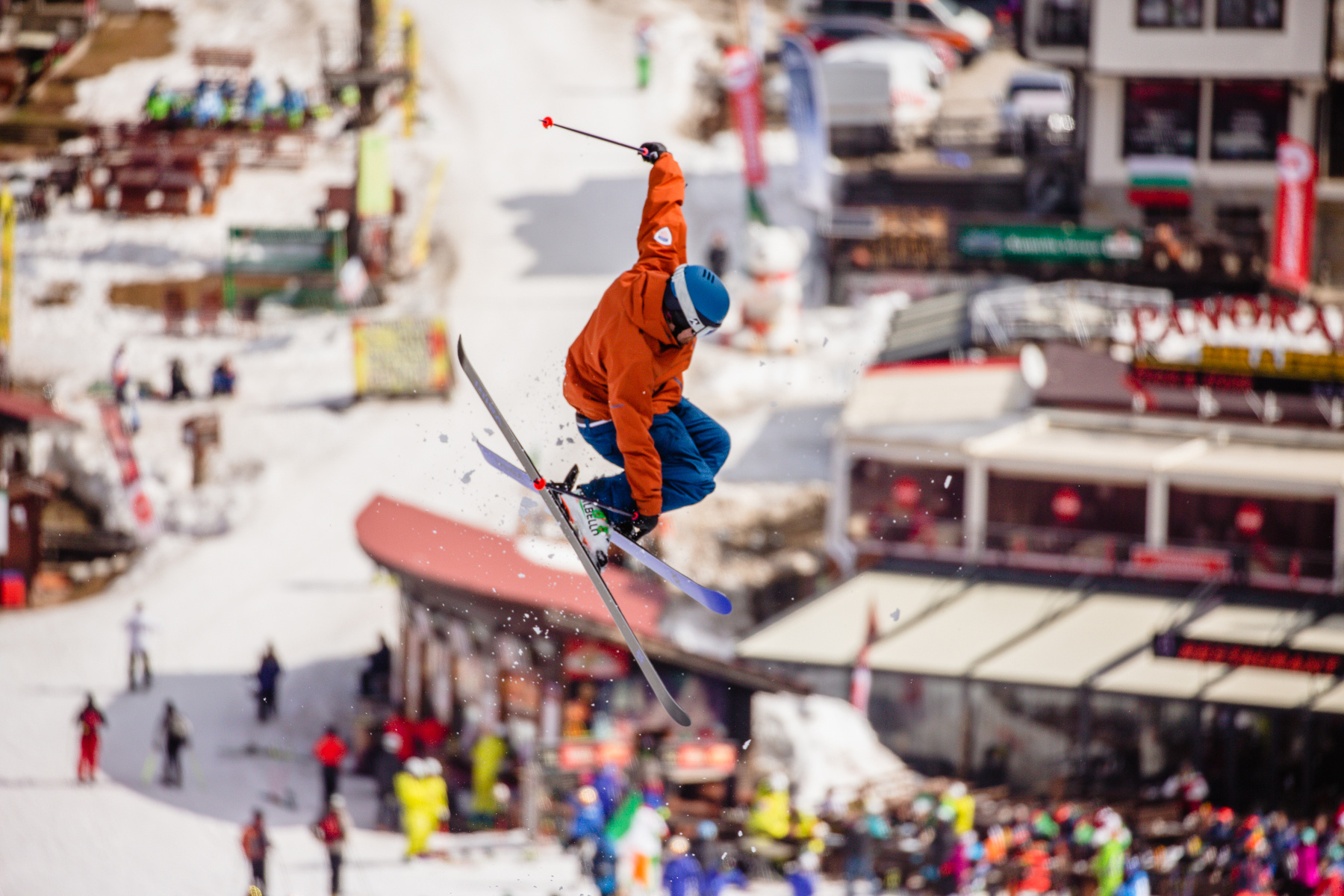 PSIA Alpine Team member Ryan Christofferson does a park trick