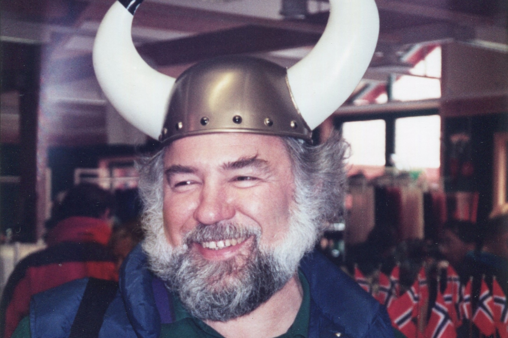 Carl Ettlinger at an ISO meeting with a viking hat on